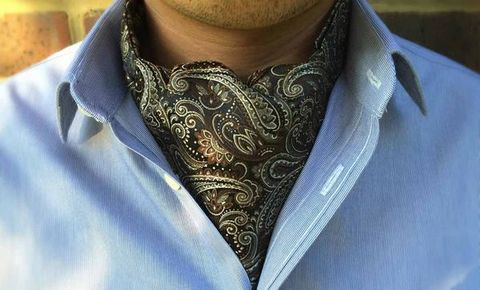 CASSIUS,brown black paisley cravat, brown paisley cravat ascot tie, cream brown paisley ascot tie, cravat, silk cravat, mens cravats uk, silk cravats uk
