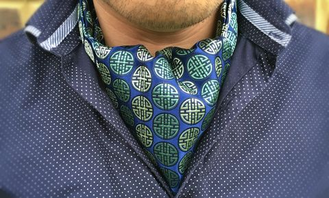 TAKEO,pattern silk cravat, patterned silk ascot tie, japanese pattern silk cravat, cravat tie, cravatte tie, mens silk cravat