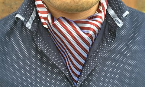 LEVI,striped silk cravat, striped silk ascot tie, red and white stripes cravat, red and white striped cravat tie