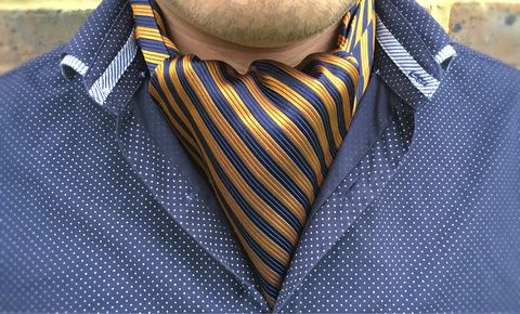 WESTON,orange and blue striped cravat, striped silk cravat, striped silk ascot tie, stripes silk cravat, stripes silk ascot tie