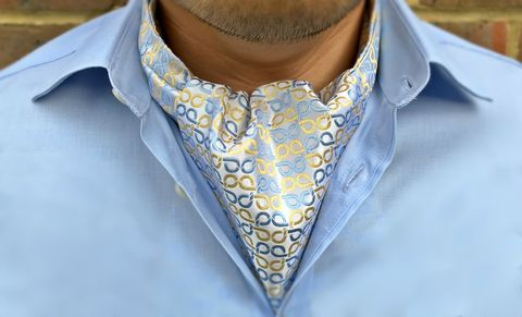 MILO,silk cravats for men, blue and yellow silk ascot tie, silver white ascot tie, silver silk cravat, blue yellow cravat tie