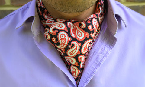 GUSTAV,red white and black cravat, paisley cravat, silk cravat uk, silk paisley ascot tie, silk paisley cravat uk, red white and black ascot tie