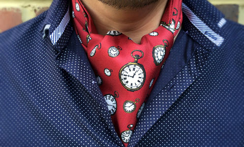 HARRISON,red silk cravat, pocket watches silk cravat, red silk ascot, patterned silk cravat, cravat tie, red silk ascot cravat, pocket watch pattern ascot tie