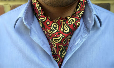 KELSO,red grey paisley silk cravat, red paisley silk ascot tie, red paisley cravat tie, mens silk cravats uk, mens silk ascots online, red silk ascot, red silk cravat