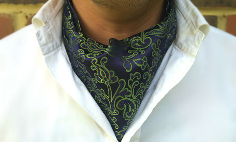 ARES,green silk cravat, green silk ascot tie, navy cravat, floral silk cravat tie, ascot ties, mens silk ascots, silk ascots for men, silk cravats for men