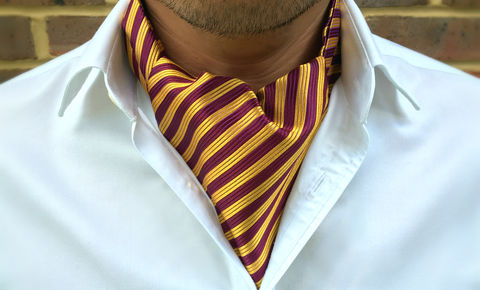 FRANCIS,striped cravat, striped silk cravat, striped ascot, striped silk ascot tie, red yellow cravat, red yellow stripes ascot, red yellow stripes cravat, red yellow ascot tie, woven silk cravat, silk ascots uk