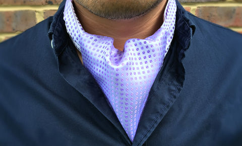 JEROME,white purple silk cravat, white silk ascot tie, white ascot tie, white cravat, purple silk cravat, purple silk ascot tie, silk ascots for men, silk cravats for men