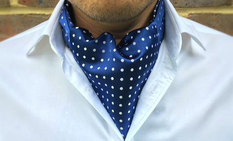 DOUGAL,polkadot cravat, polkadot ascot tie, polka dot pattern cravat, blue white polkadot cravat, blue polkadot ascot, silk ascots for men, silk cravats for men, mens silk cravats, mens silk ascots, blue white cravat, blue white ascot