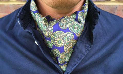 SHUI,chinese silk cravat, oriental pattern cravat, oriental pattern ascot tie, mens blue green ascot, mens blue green cravat, blue silk cravat, blue silk ascot tie, patterned silk ascot tie, patterned silk cravat tie