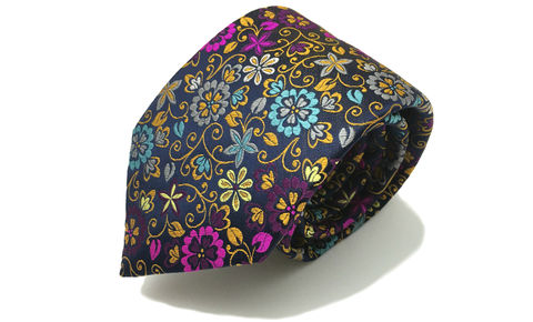 AMBROSE,floral silk necktie, woven silk floral tie, multicoloured floral silk tie, multicoloured floral silk necktie, silk neckties for men, woven silk tie