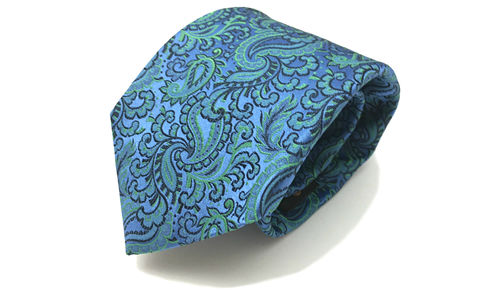 HALCYON,blue green paisley silk tie, paisley silk necktie, woven silk ties for men, ties made in england, silk ties made in england, green silk tie, green silk necktie, silk ties online, silk ties for men uk