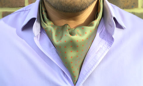 MORGAN,green polkadot cravat, green polka dot ascot tie, silk polka dot cravat, silk spotty ascot tie, cravat with spots, brown green cravat, brown green ascot tie, silk polkadot pattern cravat, polka dot pattern ascot tie, silk cravats online, silk ascots onlin