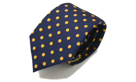 ROCCO,navy orange polkadot silk tie, polkadot silk tie, silk ties for men uk, mens silk ties uk, printed silk ties uk, printed silk ties online, skinny silk ties, 7cm silk tie, 7cm skinny tie, skinny ties for men