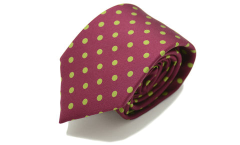 DUSTIN,red green polkadot silk tie, silk polkadot tie, polka dot silk tie, red silk tie, mens silk tie online, spotty silk ties online, spotty red silk tie, spotty green red tie, silk ties made in england
