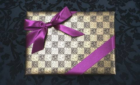 Brown,Wrap,&,Purple,Ribbon
