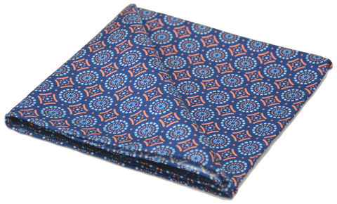 Austen,blue orange silk pocket square, blue patterned silk pocket square, patterned silk square, silk pocket squares for men uk, silk squares uk, silk pocket squares online