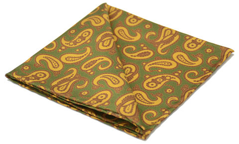 Bryn,paisley silk pocket square, paisley silk hank, paisley handkerchief, green handkerchief, green yellow pocket square, pocket squares made in england, pocket squares for men online