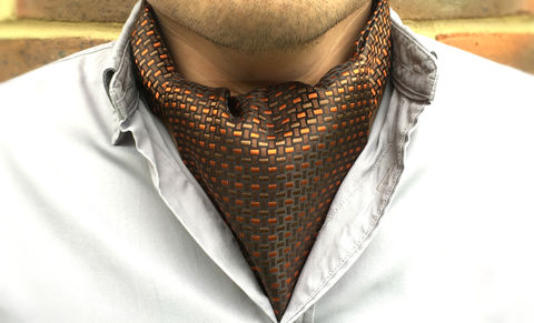 ELIAS,brown orange silk cravat, brown orange silk ascot tie, brown woven silk ascot tie, brown woven silk cravat, silk cravats for men, silk ascots online, ascot ties for men