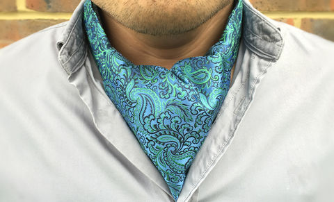 HALCYON,green paisley silk cravat, green paisley silk ascot tie, paisley silk cravat, paisley silk ascot, silk ascots for men, silk cravats online, silk day cravats for men, green cravat, green ascot