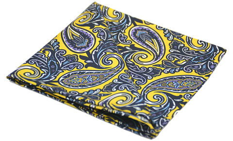 Zephyrus,yellow paisley silk handkerchief, yellow paisley silk pocket square, paisley silk pocket square, silk pocket squares online, silk pocket squares for men, silk squares online