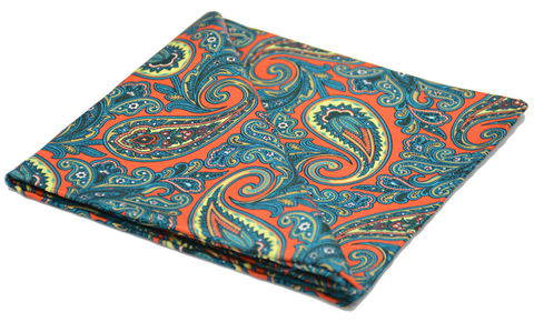 Astraeus,paisley silk pocket square, red paisley pocket square, red paisley handkerchief, pocket squares made in england, silk pocket squares made in britain, silk squares online, silk handkerchiefs online
