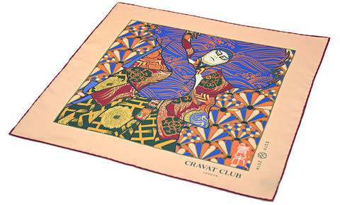 Goutan,Japanese print silk pocket square, Japanese kabuki pocket square, kabuki silk pocket square, renjishi pattern pocket square, japanese pattern pocket square, silk pocket squares for men, mens silk pocket squares, silk pocket squares uk, silk handkerchief