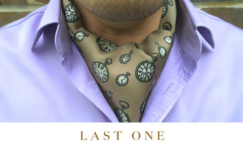 ATHLAI,pocket watch pattern cravat, pocket watches pattern ascot tie, patterned silk cravat, mens silk cravat, interesting design cravat, interesting pattern ascot