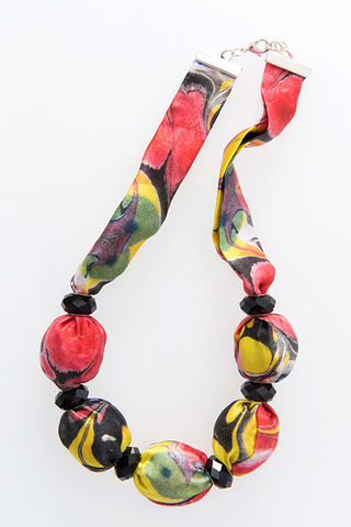 Piccadilly,Large,Bead,Necklace,necklace, jewellery, silk, fabric, fabric jewellery