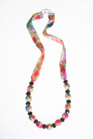 Trelissick,Long,Necklace,long necklace, fabric jewellery, textiles, marbled, fabric necklace, silk