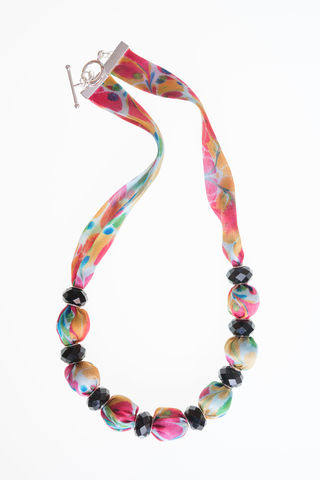 Trelissick,Short,Necklace,with,Small,Beads,necklace, fabric necklace, marbled, silk, fabric jewellery,