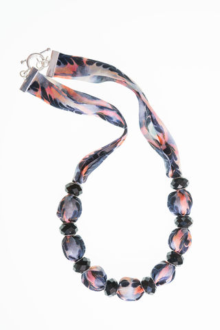Trerice,Short,Necklace,with,Small,Beads,jewellery, necklace, marbled, textiles, fabric jewellery, fabric necklace