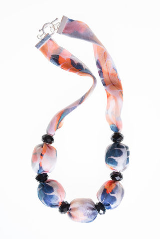 Lanhydrock,Short,Necklace,with,Large,Beads,marbled, textiles, silk, fabric jewellery, fabric necklace, jewellery, necklace