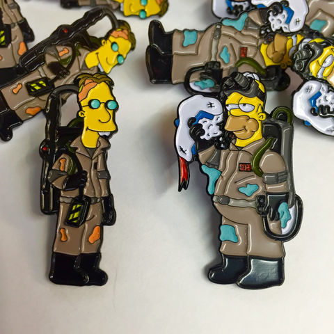 The,Simpsons,x,Ghostbusters,(Edition,2),Pin,Badge,Set,bart simpson, the simpsons, simpsons pin badge, the simpsons x ghostbusters pin badge, the simpsons mash up, pin badges, coolest pin badges