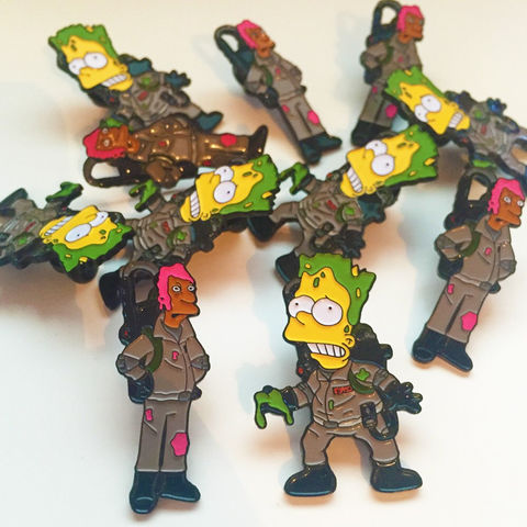 The,Simpsons,x,Ghostbusters,(Edition,1),Pin,Badge,Set,bart simpson, the simpsons, simpsons pin badge, the simpsons x ghostbusters pin badge, the simpsons mash up, pin badges, coolest pin badges