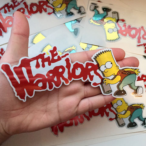Bart,x,The,Warriors,Die,Cut,Brushed,Alloy,Sticker,the warriors, 70s stickers, the warriors sticker, bart simpson the warriors, the simpsons mash up, the simpsons warriors parody, thumbs design, @thumbs1, thumbs artist