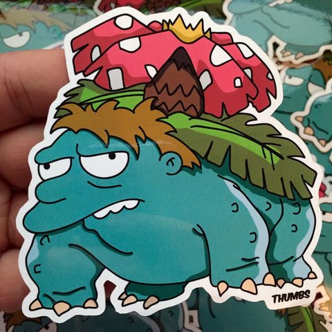 Barney,x,Venusaur,Pokemon,Die,Cut,Vinyl,Sticker,Barney x Venusaur Pokemon Die Cut Vinyl Sticker, pokemon simpsons sticker, the simpsons mash up, the simpsons stickers, thumbs design, @thumbs1, thumbs artist
