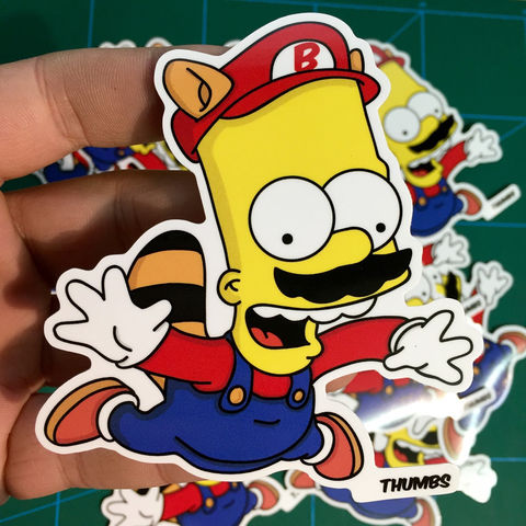 Bart,x,Super,Mario,Die,Cut,Vinyl,Sticker,Bart x Super Mario Die Cut Vinyl Sticker, bart x super mario, the simpsons mash up, the simpsons stickers, thumbs design, @thumbs1, thumbs artist, the simpsons mashup