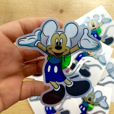 Mickey,Mouse,x,Adventure,Time,Die,Cut,Brushed,Alloy,Sticker,adventure time sticker, disney stickers, disney x adventure time mashup, @thumbs1, art by thumbs