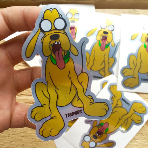 Pluto,x,Adventure,Time,Die,Cut,Brushed,Alloy,Sticker,adventure time sticker, disney stickers, disney x adventure time mashup, @thumbs1, art by thumbs