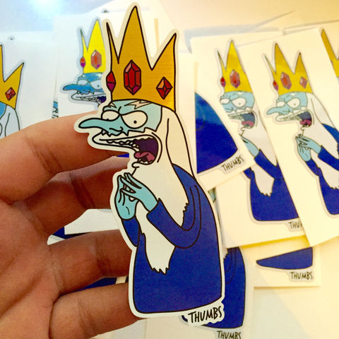Mr,Burns,x,Adventure,Time,Die,Cut,Brushed,Alloy,Sticker,adventure time sticker, the simpsons x adventure time, mr burns x ice king, @thumbs1, art by thumbs