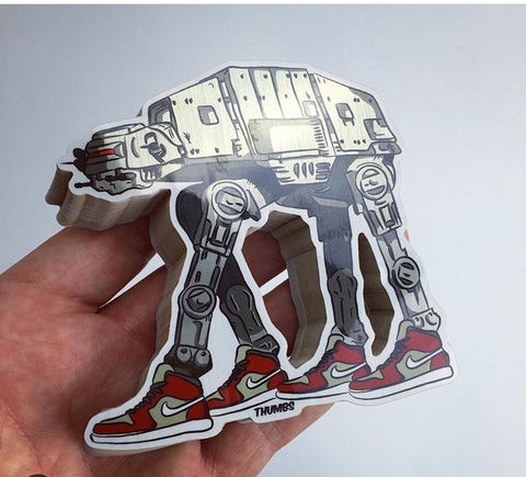 Star,Wars,AT-AT,x,Nike,Die,Cut,Brushed,Alloy,Sticker,star wars nike, at at x nike sticker, @thumbs1, art by thumbs