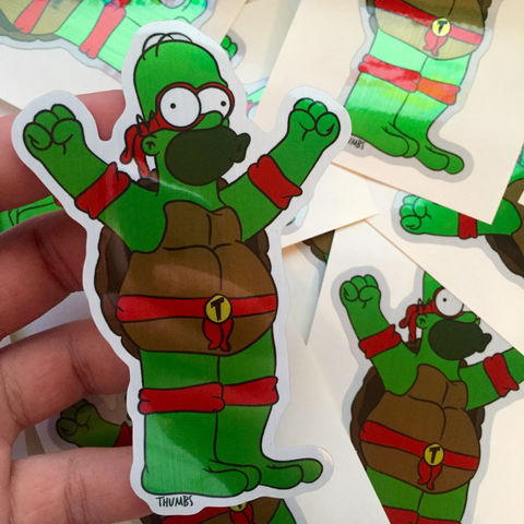 Homer,Simpson,x,TMNT,Die,Cut,Brushed,Alloy,Sticker,Homer Simpson x TMNT Die Cut Brushed Alloy Sticker, the simpsons x tmnt, @thumbs1, art by thumbs