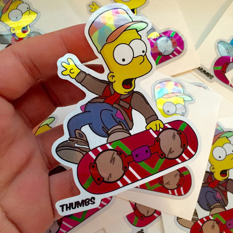 Barty,McFly,Die,Cut,Brushed,Alloy,Sticker,Pack,Barty McFly Die Cut Brushed Alloy Sticker Pack, the simpsons x back to the future, @thumbs1, art by thumbs
