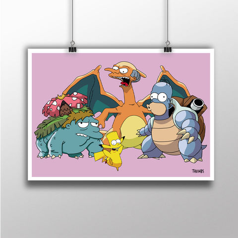 The,Simpsons,x,Pokemon,Heavyweight,Art,Print,the simpsons print, simpsons x pokemon mashup, art by thumbs, thumbs design, @thumbs1