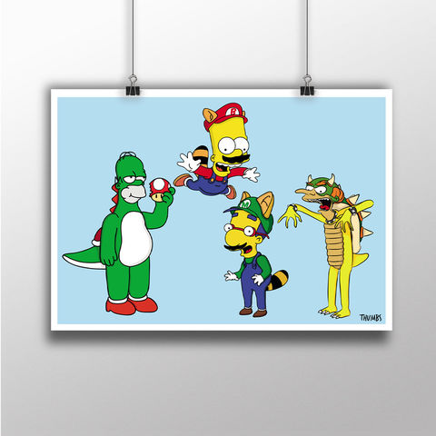 The,Simpsons,x,Super,Mario,Heavyweight,Art,Print,the simpsons print, simpsons x Super Mario mashup, art by thumbs, thumbs design, @thumbs1