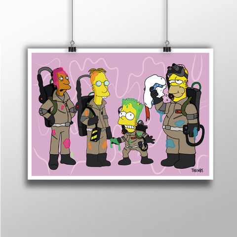 The,Simpsons,x,Ghostbuster,Heavyweight,Art,Print,the simpsons print, simpsons x ghostbuster mashup, art by thumbs, thumbs design, @thumbs1