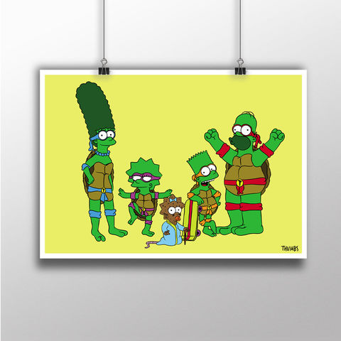 The,Simpsons,x,TMNT,Heavyweight,Art,Print,the simpsons print, simpsons x TMNT mashup, art by thumbs, thumbs design, @thumbs1