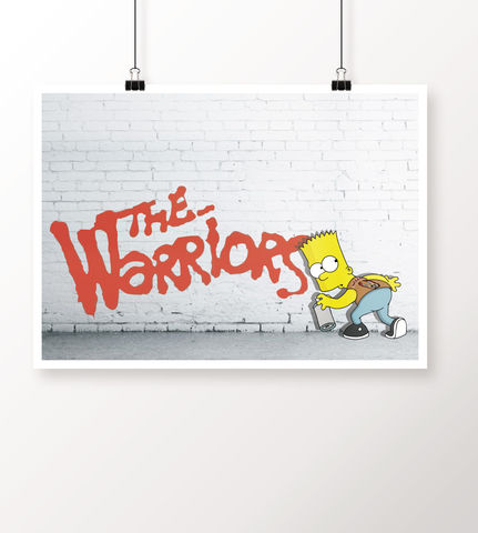 Bart,Simpson,x,The,Warriors,A4,Heavyweight,Art,Print,the simpsons print, bart x the warriors mashup, art by thumbs, thumbs design, @thumbs1