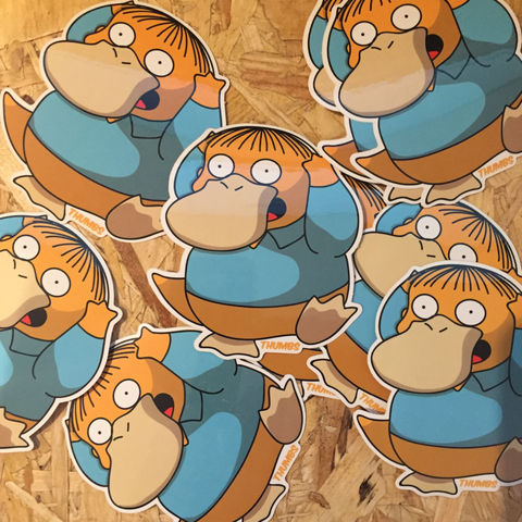 Ralph,x,Psyduck,Pokemon,Die,Cut,Vinyl,Sticker,simpsons sticker, pokemon stickers, ralph psyduck, simpsons mashups, @thumbs1, art by thumbs