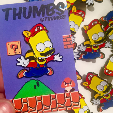 Bart,x,Super,Mario,Pin,Badge,bart simpson, the simpsons, simpsons pin badge, bart super mario pin badge, nintendo pin badge, the simpsons mash up, pin badges, coolest pin badges